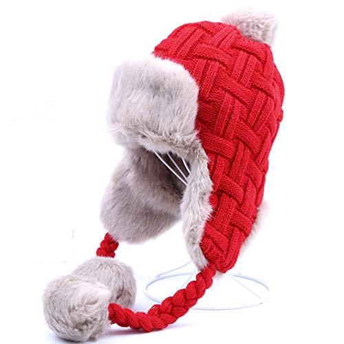 HappyShopDecoration Women Trapper Hats Winter Warm Faux Fox Fur Bomber Hat Russian Ushanka Beanies Wool Knit Earflaps by HappyShopDecoration