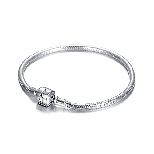 European Snake Chain with Classic Clasp 6.3 Inch Charm Bracelet