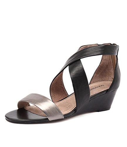 GUNMETAL Shoes Stone DIANA Summer LEATHER BLACK Wedges Medium Heels Womens FERRARI Jeune zwxWCqp7