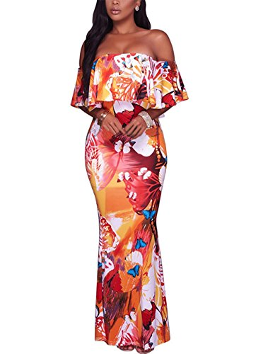 (Suimiki Vintage Ruffle Plain Floral Printed Off Shoulder Bodycon Long Party Maxi Dress Orange A X-Large)