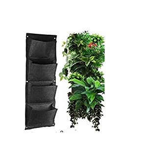 Glovion Vertical Wall Mounted Polyester Wall Planting Bags Flower Grow Bag  Living Indoor Wall Garden Planter Bags