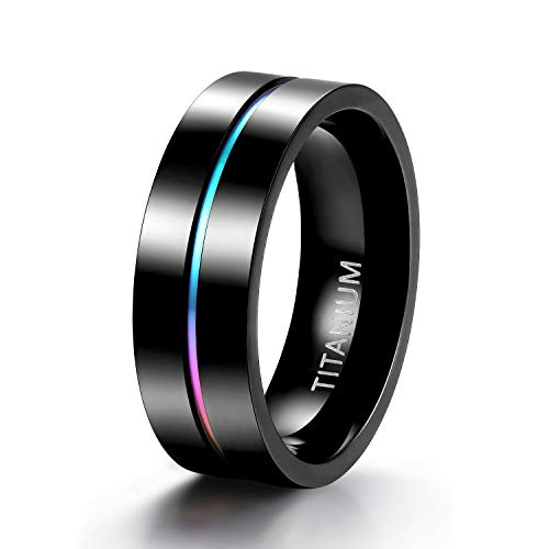 (TIGRADE 5mm/7mm Rainbow Titanium Ring Colorful Thin Groove Wedding Band High Polished Black Couple Rings Size 5-11 (7MM, 7.5))