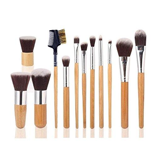 Ambox 12 Pieces Makeup Brush Set Professional Bamboo Handle Premium (Set Blush Eye)