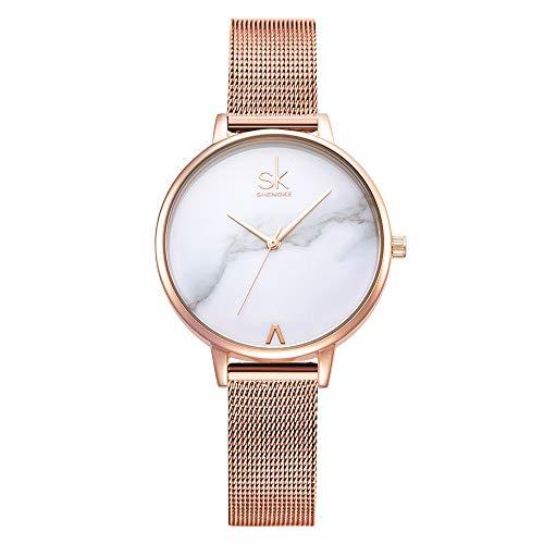 Women Stainless Steel Band Watches Ladies Quartz Wristwatches Waterproof Unique Design Mesh Bracelet Watch (0039 White SS)