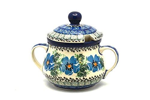 (Polish Pottery Sugar Bowl - Morning Glory)
