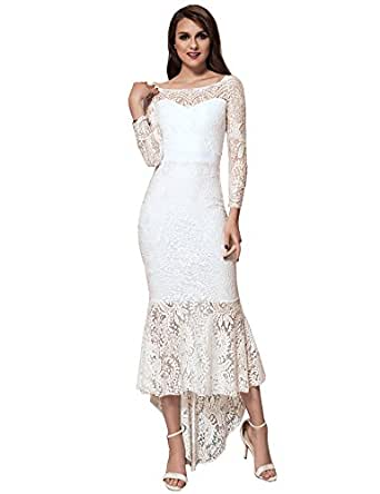 ohyeah Women Solid Formal Lace Maxi Dress Long Sleeve Boat Neck Elegant Party Gown Mermaid Dress White Medium=US 4-6