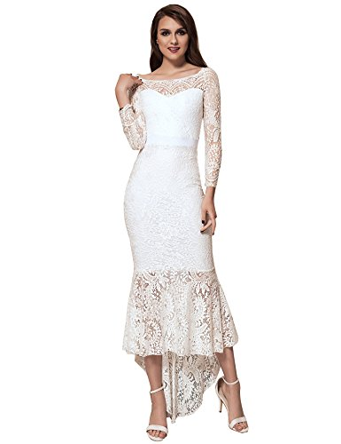 ohyeah Women Solid Formal Lace Maxi Dress Long Sleeve Boat Neck Elegant Party Gown Mermaid Dress (XXX-Large=US 12-14, White) (Gowns Formal Vintage)