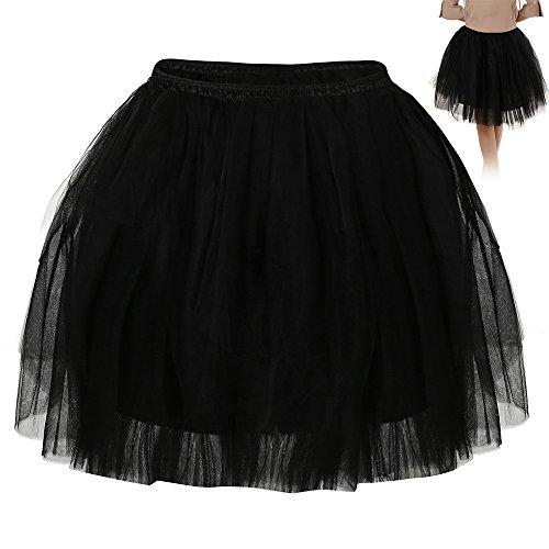 Wellbeing Vintage Tulle Skirt Layered Midi Skirt Tute A Line Knee Length Petticoat Elastic Waistband Medium (BLACK) (Halloween Costumes With Puffy Skirts)