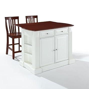 Crosley Furniture Drop Leaf Kitchen Island Breakfast Bar With 24 Inch School House Stools