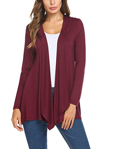 Mofavor Womens Loose Long Sleeve Oversized Hooded Knit Cardigan Sweater with Pockets Wine Red L