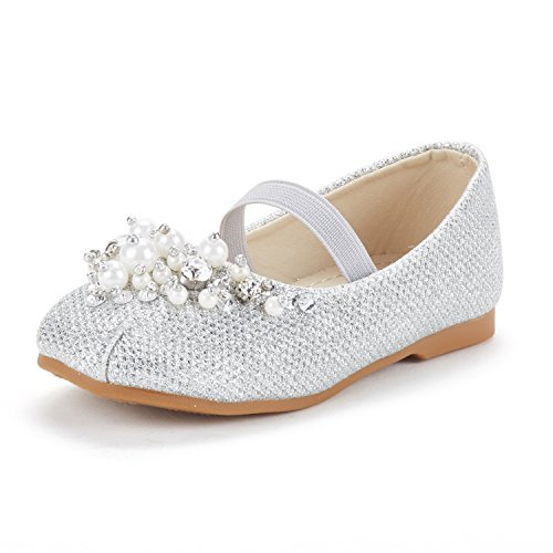 DREAM PAIRS Little Kid Aurora-03 Silver Glitter Girl's Mary Jane Princess Party Dress Flat Shoes Size 13 M US Little ()