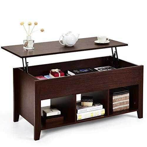 Tangkula Lift Top Coffee Table, Wood Home Living Room Modern Lift Top Storage Coffee Table w Hidden Compartment Lift Tabletop Furniture Brown