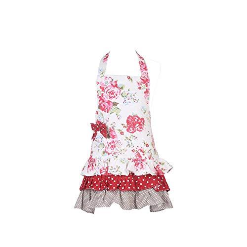 Rétro Femme Et Aihome Café Serveuse De Poches Fille En Avec Tablier Coton Cuisine Pour Floral x7Xf4