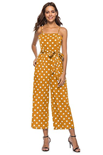 FairyMei Women's Summer Halter Sleeveless Waist Belted Back Wide Leg Casual Loose Polka Dot Jumpsuit Rompers (XX-Large, Yellow) by FairyMei