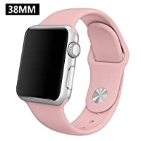 OULUOQI 38mm Soft Durable Silicone Replacement Band Strap with Pin and Tuck Closure for Apple Watch 38mm - M/L Size (sportband-38mm-vintage )