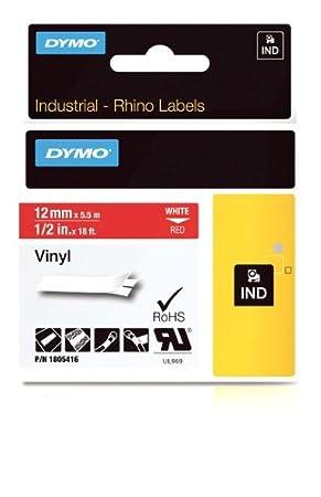 Self-Adhesive 9 mm x 5.5 m White on Black Dymo 1805437 Rhino Industrial Vinyl Labels