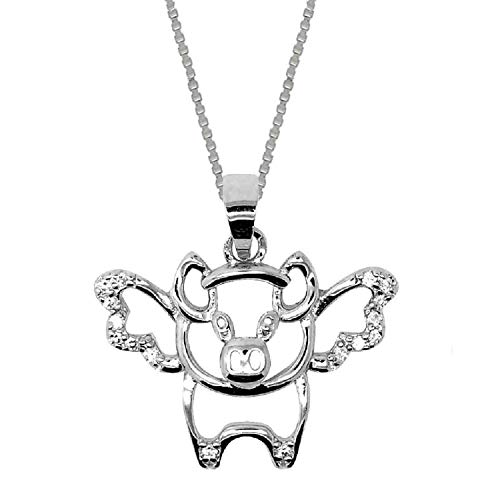 (Sterling Silver When Pigs Fly Pendant Chain Necklace for Women (18 Inch))