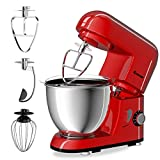 COSTWAY Stand Mixer 4.3 Quart 6-Speed 120V/550W Kitchenaid 3 Attachments Offer Tilt-head Electric Food Mixer w/Stainless Steel Bowl (Red)