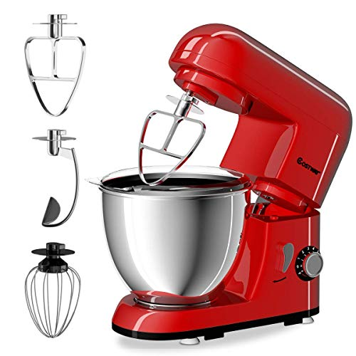 COSTWAY Stand Mixer 4.3 Quart 6-Speed 120V 550W Kitchenaid 3 Attachments Offer Tilt-head Electric Food Mixer w Stainless Steel Bowl Red