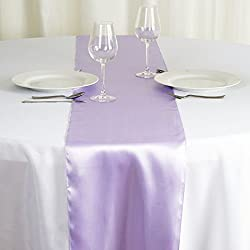 BalsaCircle 10 pcs 12 x 108-Inch Lavender Satin Table Top Runners - Wedding Party Event Reception Occasions Linens Decorations