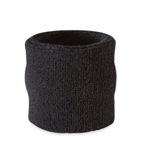 suddora Handgelenk Schweißband-Athletic Baumwolle Frottee Armband für Sport schwarz schwarz