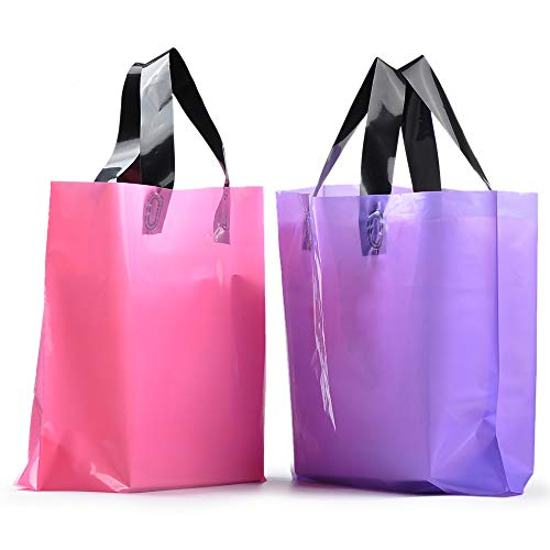 - YookeeHome 100PCS Frosted Plastic Gift Bags, Large Merchandise Bags Retail Clothing Grocery Boutique Shopping Bags with Handles, Pink and Purple