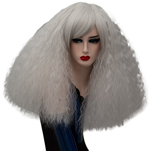 ELIM Silver Costume Wigs Short Fluffy Curly Cosplay Wigs for Women with Wig Cap Z108Z ()