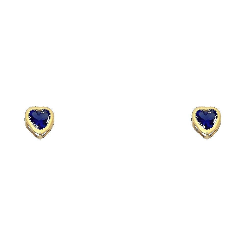September Wellingsale 14K Yellow Gold Polished 5mm Heart Bezel Set Birth CZ Cubic Zirconia Stone Stud Earrings With Screw Back