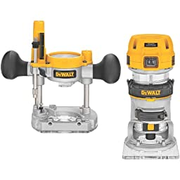 DEWALT DWP611PK 1.25 HP Max Torque Variable Speed Compact Router Combo Kit with LED\'s
