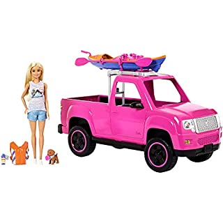 Barbie- Camping Playset with Doll, Pink Car, Kayak, Puppy and Accessories, FNY40