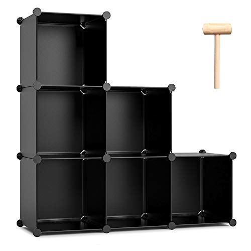 C&AHOME Cube Storage, 6-Cube Shelves Organizer Unit, DIY Bookshelf, Plastic Closet Cabinet, Modular Bookcase Ideal for Bedroom, Living Room, Office, 36.6