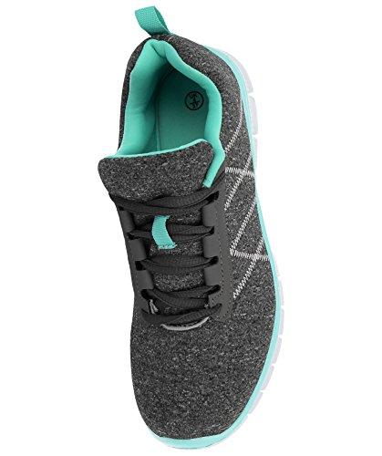 ligero nbsp;Galop Casual 816109 Ladies running menta Formadores gimnasio deportes comodidad gris Lace Mesh Up verde de Zapatillas 0qYdwY5