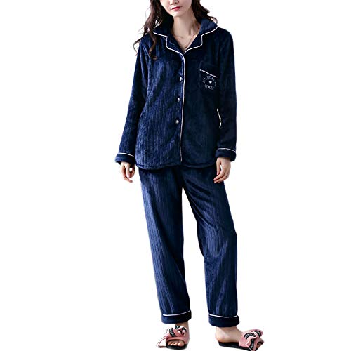 E Salotto Morbido Flanella Pantaloni Inverno Pile Notte Caldo Donna Camicia Pigiami Set In Lunga Pigiama Da Comodo Blue PJ's Pigiama Manica Notte SXqH6EwEx