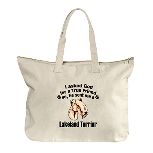 Asked God Friend Lakeland Terrier Dog Canvas Beach Zipper Tote Bag - Florida Lakeland In Shopping