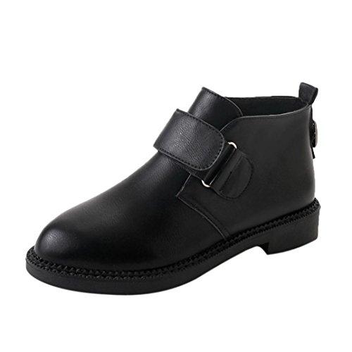 XINXINYU Martin Stiefel beiläufige magische Schuhe,Herbst Chelsea Stiefel Frauen Knöchel Flache Ferse Martin Stiefel Retro Mode Stiefel Bk