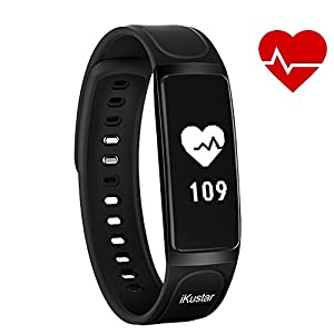 Fitness Tracker iKustar Smart Bracelet Pedometer Heart Rate Monitor Sleep Monitor Calorie Counter Pedometer Sport Activity Tracker With HD OLED Touch Screen for Android and IOS Smart Phone (Black)