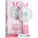 BXT Cute Rabbit Portable Handheld Mini Personal Fans Electric USB/Rechargeable Battery Powered Summer Cooling Fan Desktop Fan with Hanging Necklace Lanyard, Ideal for Home Office&Outdoor Travel (Pink)