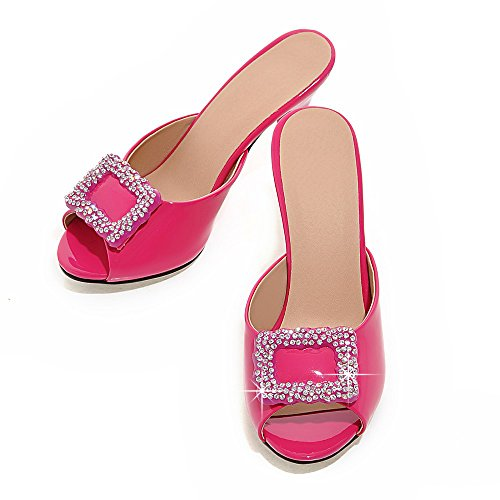 Minivog Mujeres Buckle Slipper Mules Para Clima Fresco Rose Red