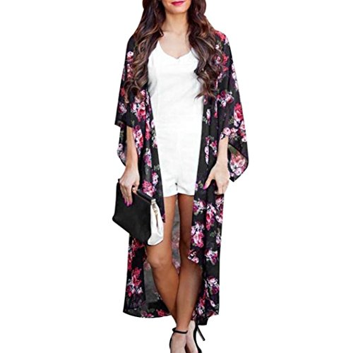 Paymenow Women Floral Cardigan Casual Long Sleeve Open Front Kimono Blouse Coat (XL, Black)