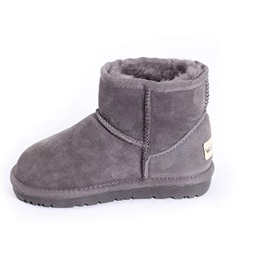 unyielding1 Girls Boys Warm Winter Flat Shoes Button Snow Boots Toddler/Little Kid(Grey2 31/10.5 B(M) US Toddler)