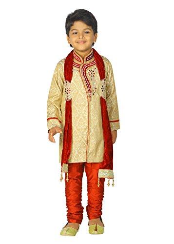 Ahhaaaa Kids Ethnic Indian Handwork Sherwani and Breeches Set With Dupatta Set for Boys by ahhaaaa (Image #5)