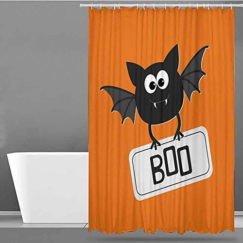 VIVIDX Womens Shower Curtain,Halloween,Cute Funny Bat with Plate Boo Fangs Scare Frighten Seasonal Cartoon Print,Single stall Shower Curtain,W55x86L Orange Black White