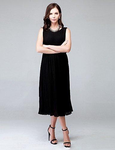 PU&PU Robe Aux femmes Ample Couleur Pleine Midi Polyester / Mousseline de soie , black-l , black-l