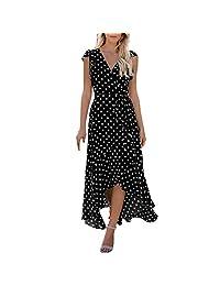 DMZing Maxi Vestido de Mujer a la Moda Casual Lunares Vestido de Sirena Boda Playa Fiesta