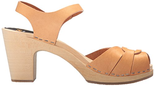 Swedish Hasbeens Peep toe super high 432 - Sandalias de cuero para mujer Nature