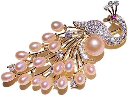 真珠のブローチアクセサリー と冬の孔雀のブローチアクセサリー創造的な天然淡水真珠動物のブローチ (A1)