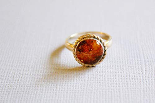 Real Natural Baltic Amber Ring Size 6.5 by Handmade Studio - Natural Cottage Rocker