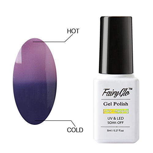 FairyGlo Thermal Color Changing Gel Polish Soak Off UV LED Chameleon Magic Nail Art 8ML Spectrum Blue - Regal Orchid 5713