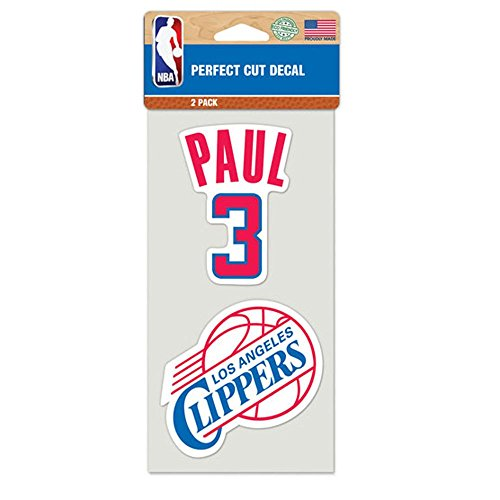 Los Angeles Clippers Official NBA 4 inch x 4 inch Each Die Cut Car Decal 2-Pack by Wincraft 890511 ()