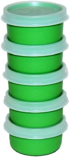 Tupperware Set of 5 Smidgets 1 Ounce Mini Containers Green